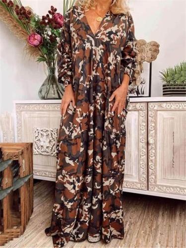 Bohemian Style V Neck Camouflage Oversized Maxi Dress