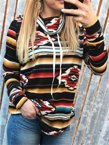 Casual Cowl Neck Print Long Sleeve Sweatshirt