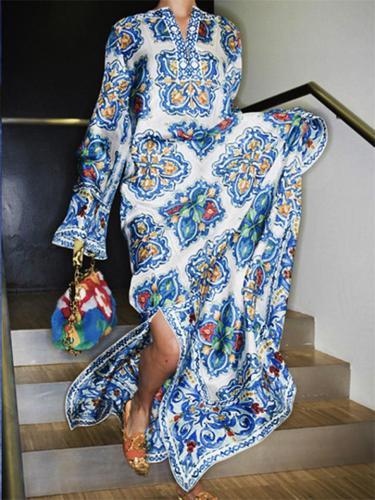 Bohemian Floral Print V-neck Beach Dress