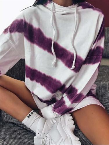 Women's Tie-dyed Printed Long Sleeve Hoodie