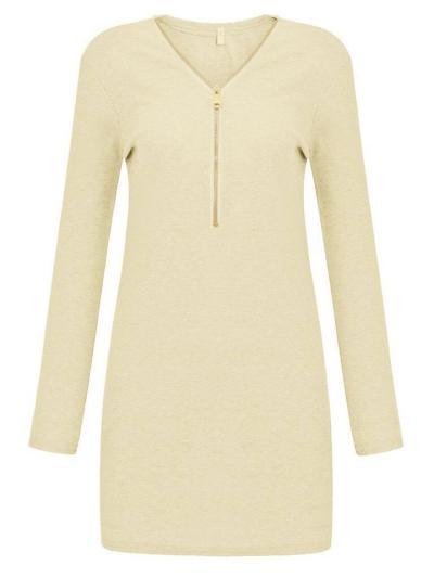 V Neck Front Zipper Pullover Ribbed Long Sleeve Midi Bodycon Dress