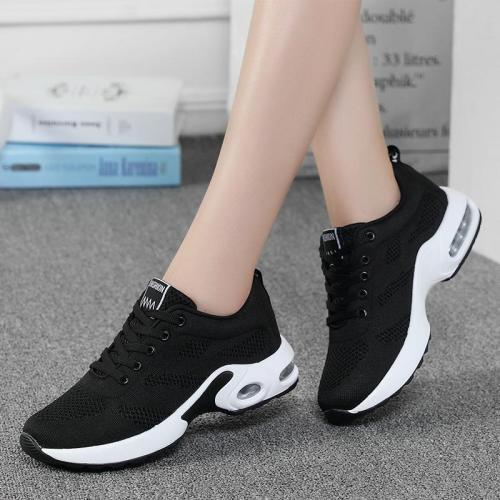 Snug Lace Up Supportive Mesh Upper Rocker Bottom Lightweight Running Shoes