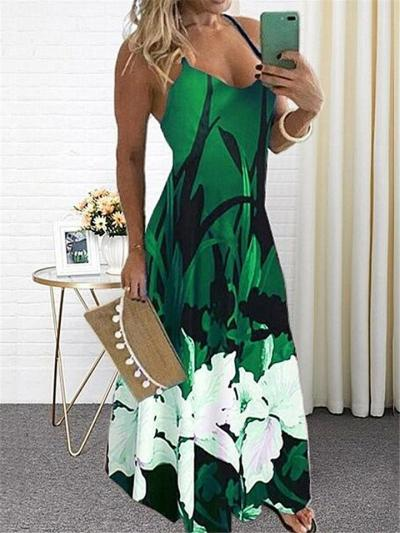 Sexy Pretty Scoop Neck Floral Printed Strappy Flare Maxi Dress