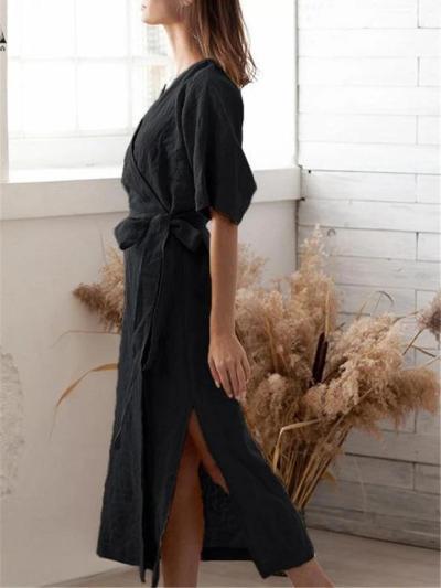 Casual Style Wrap V Neck Half Sleeve Side Slit Waist Tie Maxi Dress