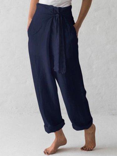 Women Belted High Waist Casual Wide Leg Harem Pants