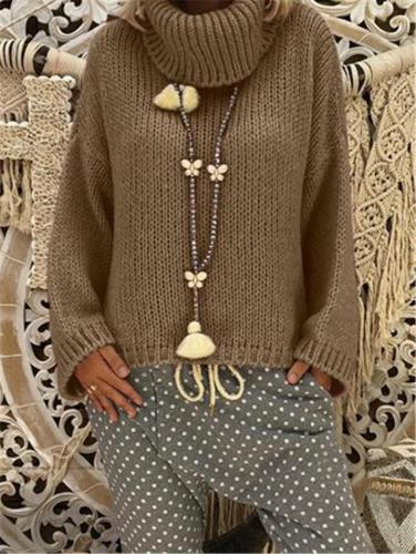 Oversized High Neck Solid Color Ribbed Knit Basic Pullover Sweater