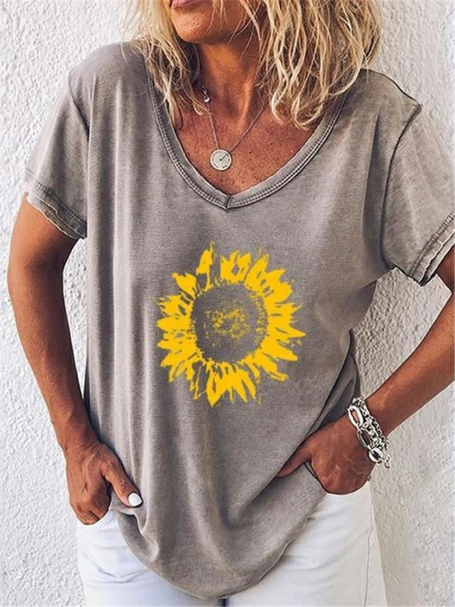 Relaxed Fit Scoop Neck Sunflower Short Sleeve T-Shirt