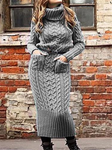 Turtleneck Knitted Sweater Pocket Dress