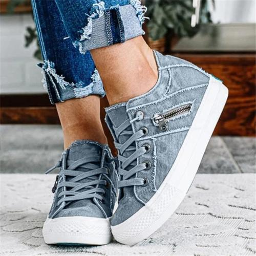 Casual Hipster Smoked Canvas Shoes With Zippers