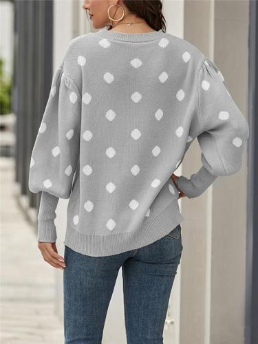 Casual Style Round Neck Polka Dot Long Sleeve Knitted Sweater
