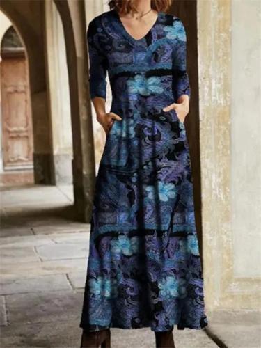 Vintage Style V Neck Floral Printed Long Sleeve Pocket Flare Maxi Dress