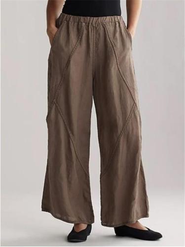 Casual Fit Solid Color Elastic Waist Cotton Linen Wide Leg Pants