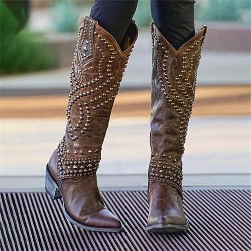 Vintage Style Rivet Deco Non-Slip Chunky Heel Pointed Toe Boots