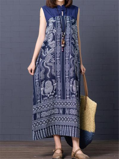 Retro Style Stand Collar Sleeveless Side Slit Linen Cotton Dress