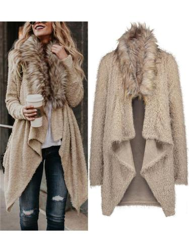 Comfy Asymmetric Open Front Fur Collar Coat