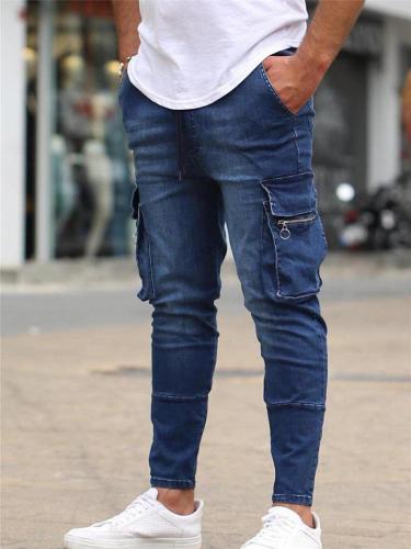 Trendy Front Zipper Multi-Pocket Denim Cargo Pants