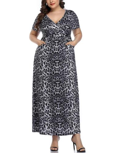Bohemian Style Low V Neck Short Sleeve Animal Pattern Maxi Dress