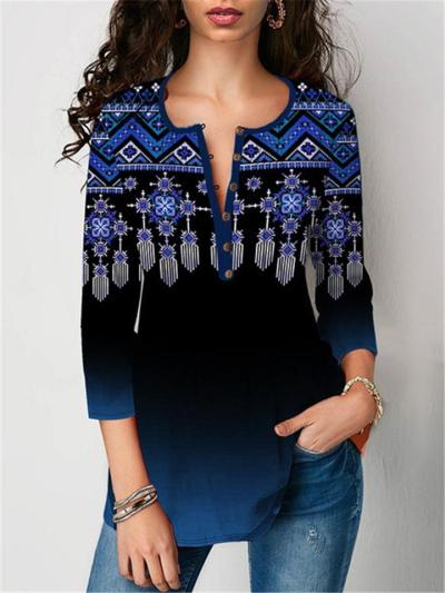 Loose Fit Notched V Neck Floral Printed 3/4 Sleeve Pullover Tops