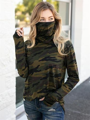 Casual Style Cowl Neck Camouflage Long Sleeve Basic Tops with Face Cover