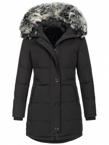 Comfortable Zipper Button Pocket Fur Collar Hooded Padded Coat