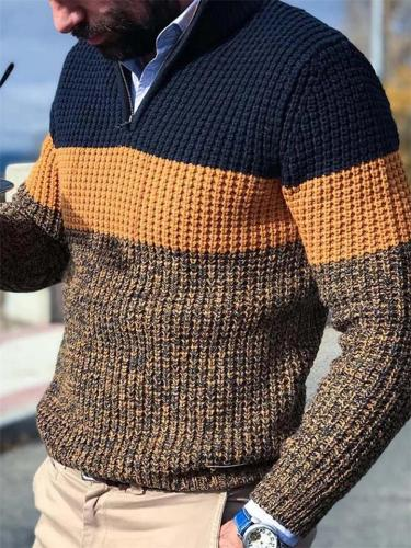 Casual Fit V Neck Long Sleeve Color Block Cable Knit Sweater