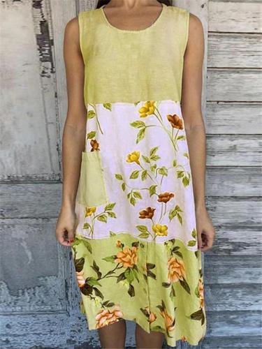 Pretty Round Neck Sleeveless Floral Pattern Linen Midi Length Dress