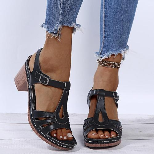 Stylish Open-Toe Buckle Up Chunky Mid Heel Sandals