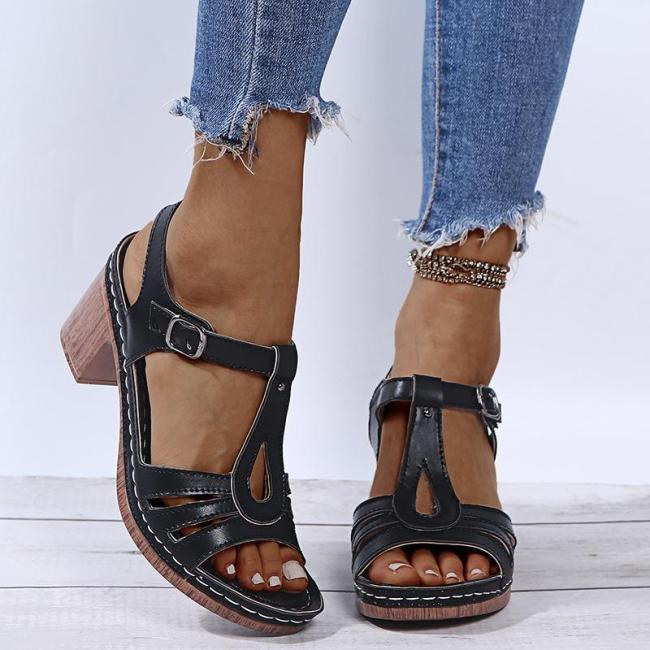 Stylish Open-Toe Buckle Up Chunky Mid Heel Sandals