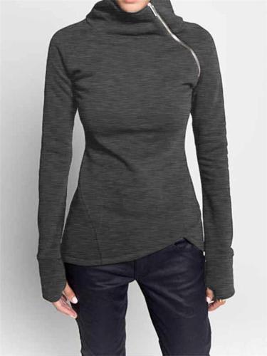 Easy Fit Side Zipper Asymmetric Hem Thumbhole Sleeve Tops