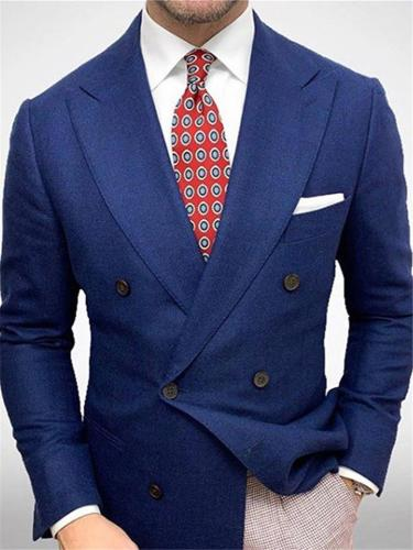 Blue Notched Collar Double-Breasted Business Blazer