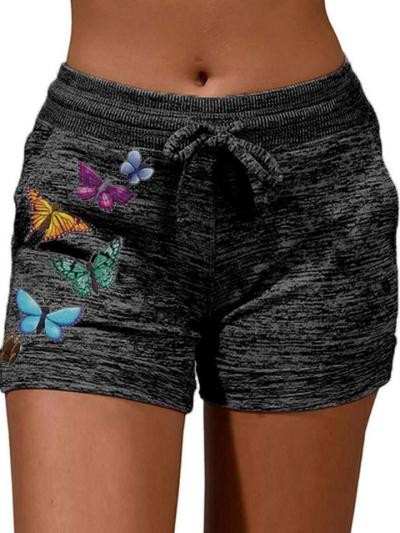 Casual Style Cotton Butterfly Printed Heathered Waist Tie Shorts