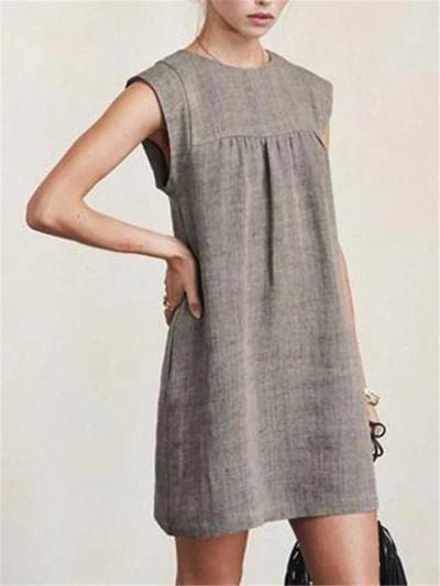 Casual Style Round Neck Sleeveless Cotton Linen Pleated Basic Dress