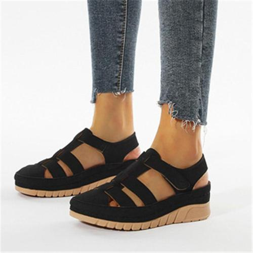Casual Cut-Out Thick-Sole Closed-Toe Wedge Heel Sandals