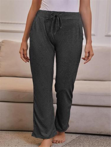 Comfy Soft High Rise Drawstring Waist Straight-Leg Pants