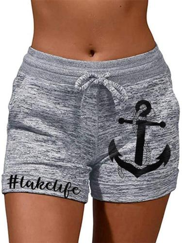 Casual Style High-Rise Anchor Printed Heathered Waist Tie Shorts