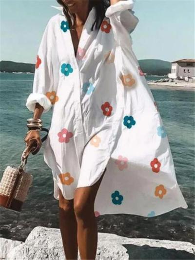 Oversized Lapel Collar Floral Printed Long Sleeve Button Up Shirt Dress