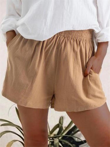 Women Comfy Summer Casual Elastic Waist Pants Shorts With Pocket