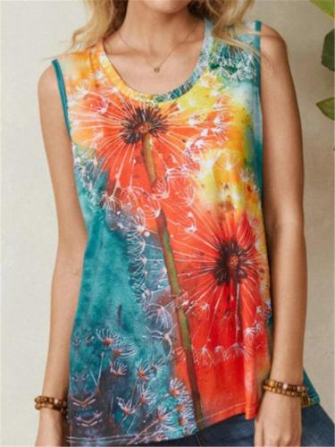 Multicolor Vibrant Floral Print Crew Neckline Soft Cotton Tank Top