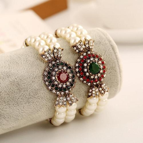 Vintage Red Crystal Chain Artificial Pearl Beaded Bracelet