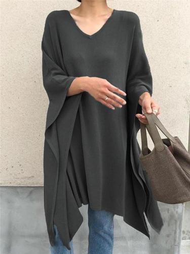 Plus Size Asymmetric Design Batwing Sleeve Tops