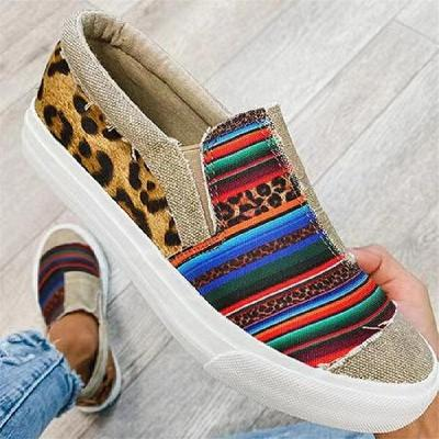 Casual Style Low-Cut Multicolor Flat Heel Round Toe Canvas Loafers