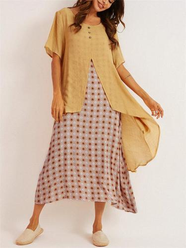 Retro Elegant Floral Printed Chiffon Swing Long Dress
