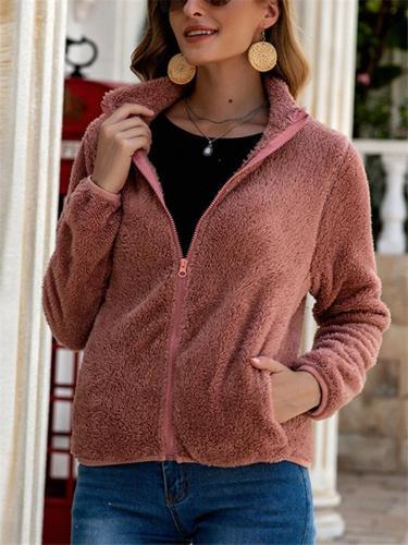 Casual Zip Up Long Sleeve Solid Color Fur Coat