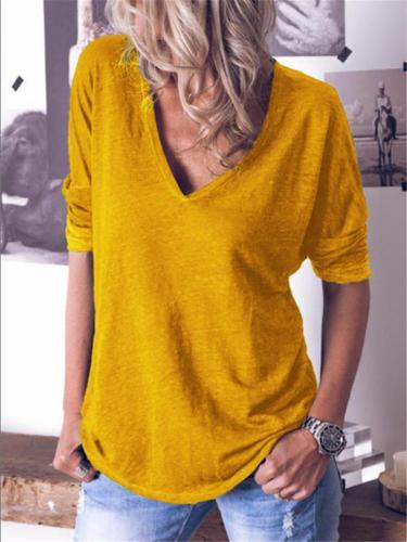Comfortable V Neck Long Sleeve Shirt