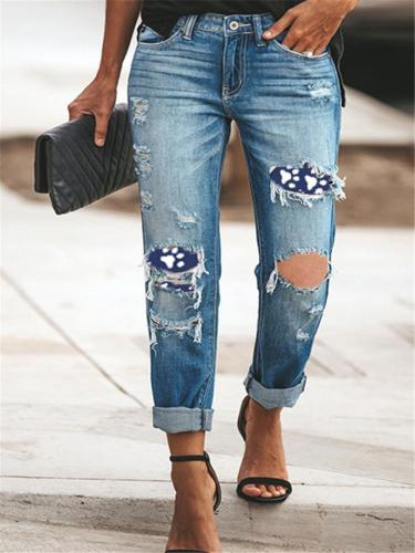 Slim Fit Washed Effect Printed Ripped Design Button Up Denim Pants