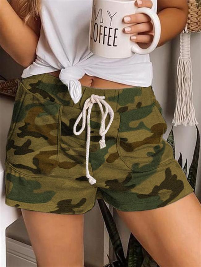 Casual Style Elastic Waist Drawstring Camouflage Pocket Shorts