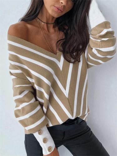 Sexy V Neck Stripe Loose Long Sleeve Knit Tops
