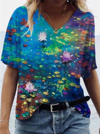 Loose Fit V Neck Multicolor Printed Pullover Short Sleeve T-Shirt