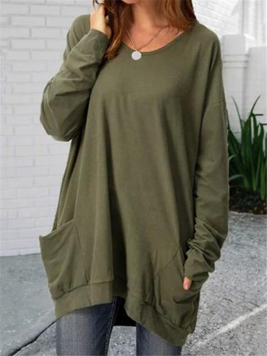 Oversized Round Neck Solid Color Long Sleeve Pocket Shirt & Tops