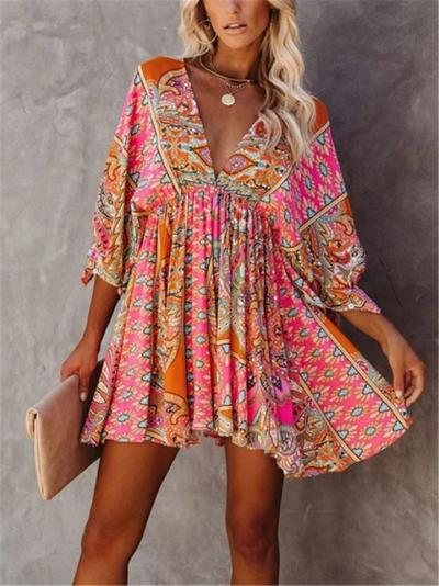 Sexy Pretty Low V Neck Floral Printed 3/4 Sleeve Pleated Dress